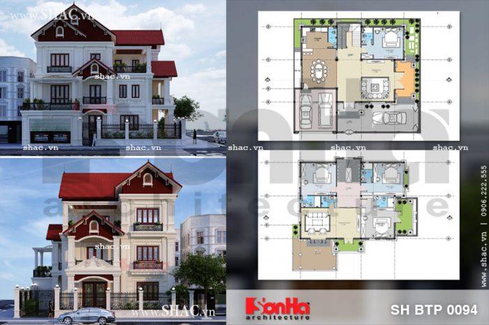 Phối cảnh thiết kế kiến trúc và mặt bằng công năng mẫu biệt thự 3 tầng kiểu cổ điển tại Ninh Bình