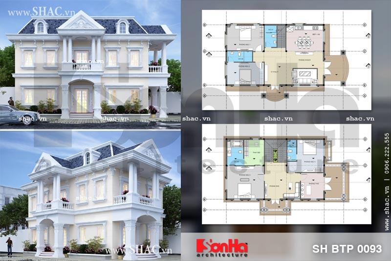 Mẫu thiết kế biệt thự Pháp 2 tầng mặt tiền rộng tại Sài Gòn sh btp 0093