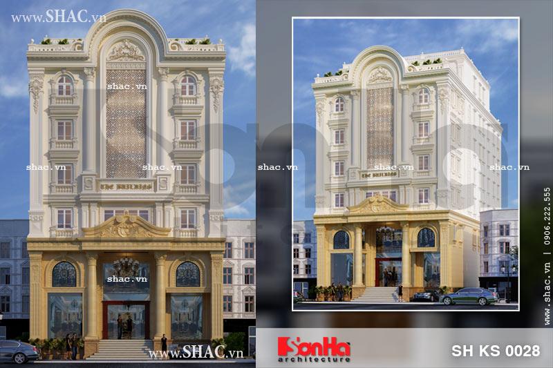 Mẫu thiết kế kiến trúc khách sạn cổ điển sang trọng tại Lào Cai sh ks 0028