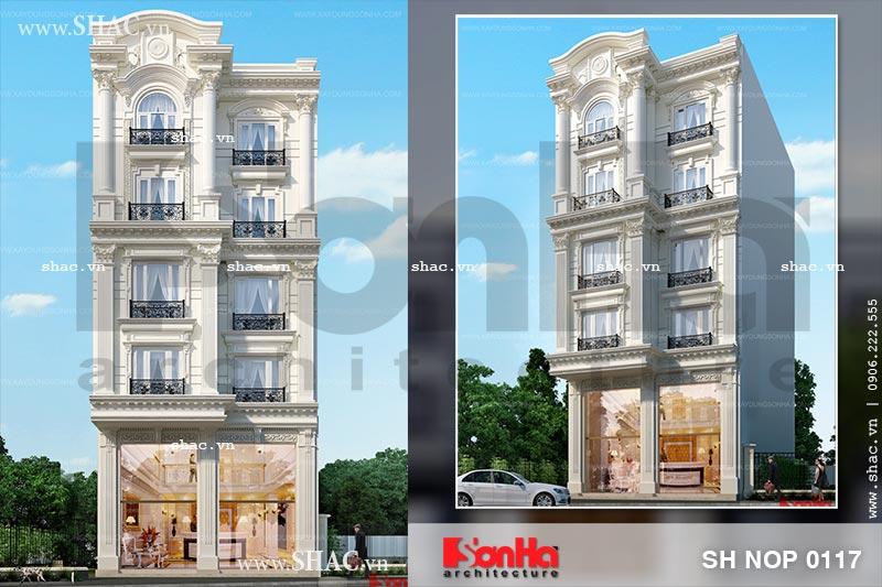 Thiết kế nhà phố 5 tầng kiểu Pháp sang trọng tại Sài Gòn sh nop 0117