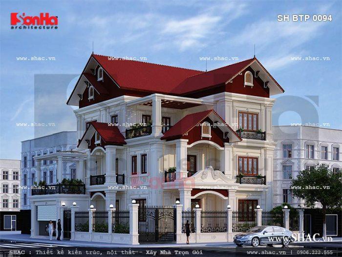 Mẫu biệt thự cổ điển 3 tầng có thiết kế kiến trúc sang trọng mãn nhãn tại Ninh Bình