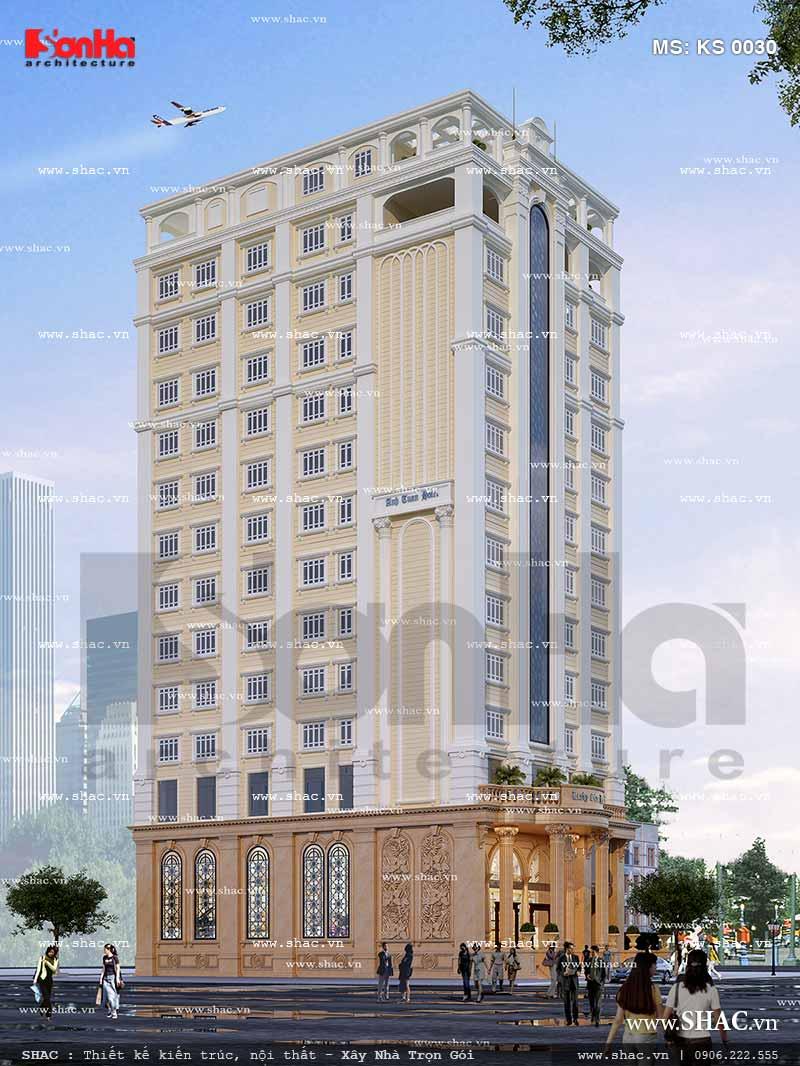 Toàn cảnh kiến trúc mặt bên của khách sạn pháp 12 tầng đồ sộ và mãn nhãn với người qua đường đạt tiêu chuẩn 3 sao sang trọng