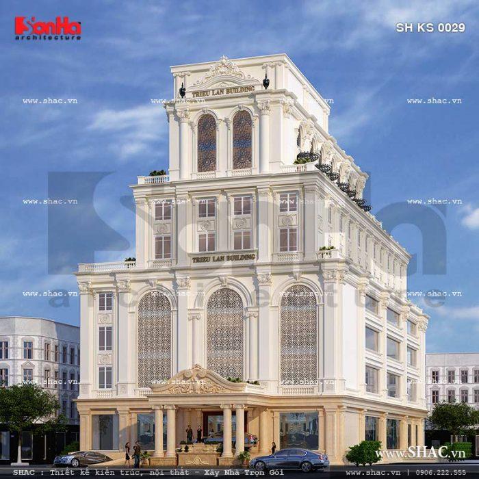 Toàn cảnh kiến trúc ngoại thất của tổ hợp khách sạn, nhà hàng, trung tâm tiệc cưới kiến trúc pháp đẳng cấp tại Quảng Ninh