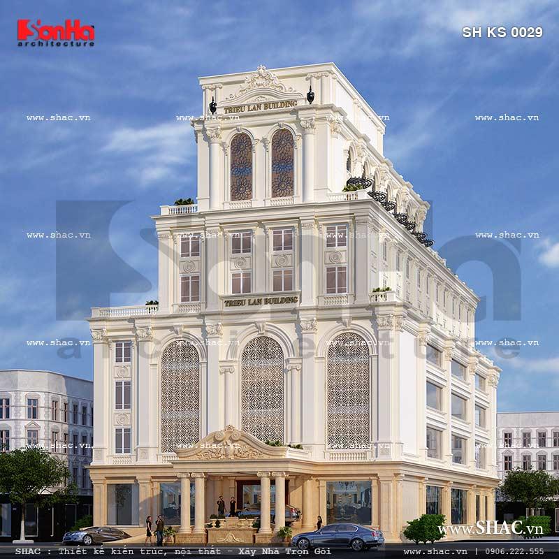 Mẫu thiết kế tổ hợp khách sạn nhà hàng trung tâm tổ chức sự kiện tại Quảng Ninh sh ks 0029