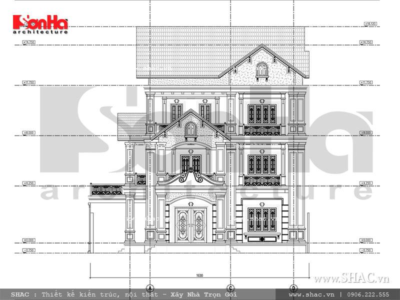 Mặt đứng tổng thể 2 thiết kế biệt thự Pháp tại Ninh Bình sh btp 0094