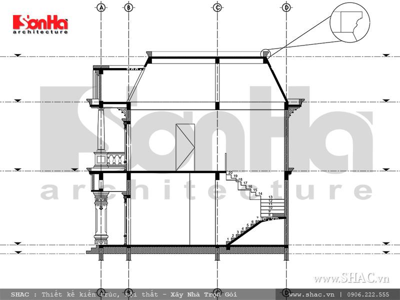 Mẫu thiết kế biệt thự Pháp 2 tầng mặt tiền rộng tại Sài Gòn – SH BTP 0093 10