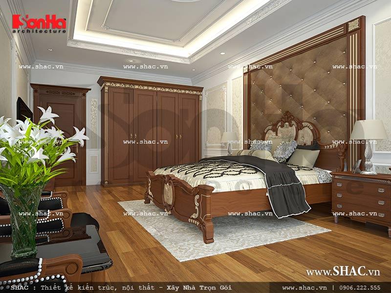 Mẫu thiết kế nội thất phòng ngủ 1 view 2 nhà phố kiến trúc Pháp sh nop 0117
