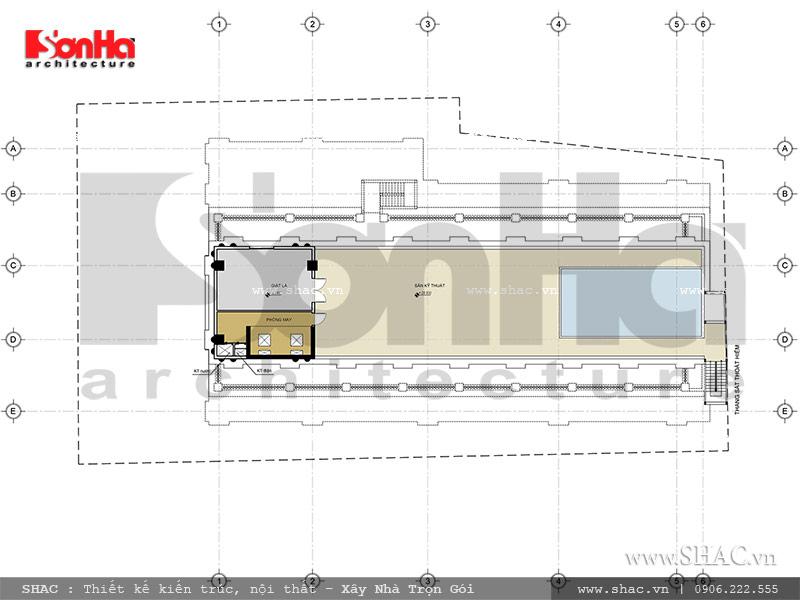 bản vẽ tầng tum của khách sạn; mặt bằng tầng tum của khách sạn kiến trúc pháp