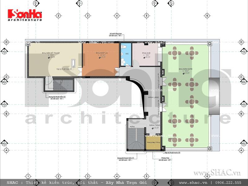Thiết kế mặt bằng công năng tầng tum khách sạn cổ điển Pháp 7 tầng sh ks 0028