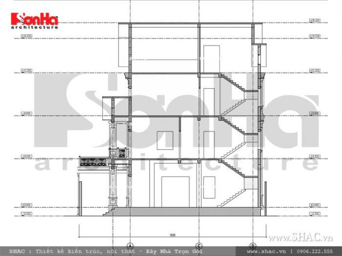 Thiết kế bản vẽ mặt cặt 2 của công trình biệt thự Pháp 3 tầng tại Ninh Bình