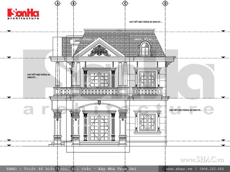 Mẫu thiết kế biệt thự Pháp 2 tầng mặt tiền rộng tại Sài Gòn – SH BTP 0093 4