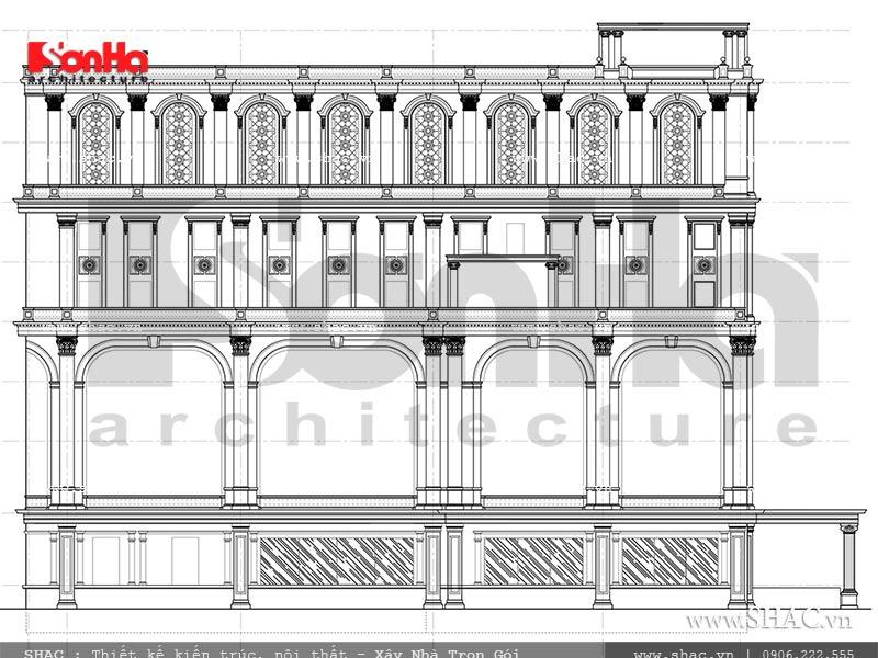 bản vẽ mặt đứng của tổ hợp khách sạn 8 tầng; bản vẽ mặt đứng khách sạn kiến trúc pháp 8 tầng tại quảng ninh