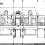 Mặt đứng kỹ thuật trục 1-5 biệt thự Pháp đẹp sh btp 0093