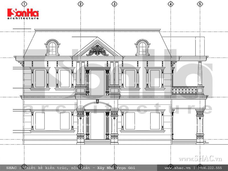 Mẫu thiết kế biệt thự Pháp 2 tầng mặt tiền rộng tại Sài Gòn – SH BTP 0093 6