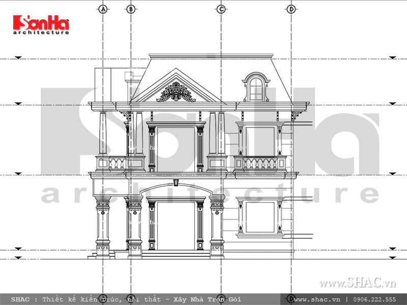 Mẫu thiết kế biệt thự Pháp 2 tầng mặt tiền rộng tại Sài Gòn – SH BTP 0093 7