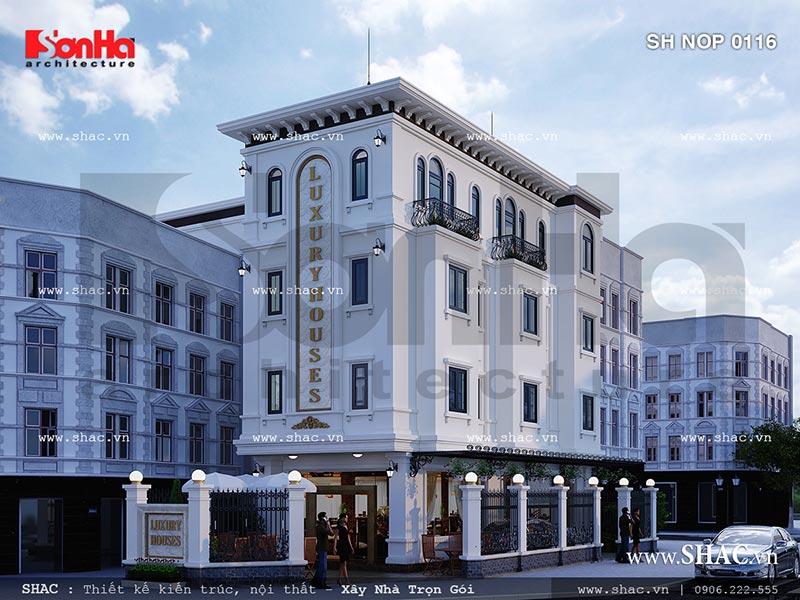 Thiết kế nhà ở kết hợp kinh doanh kiến trúc Pháp tại Hải Phòng sh nop 0116