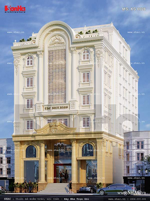 Mẫu thiết kế khách sạn kiến trúc cổ điển Pháp sang trọng tại Lào Cai sh ks 0028