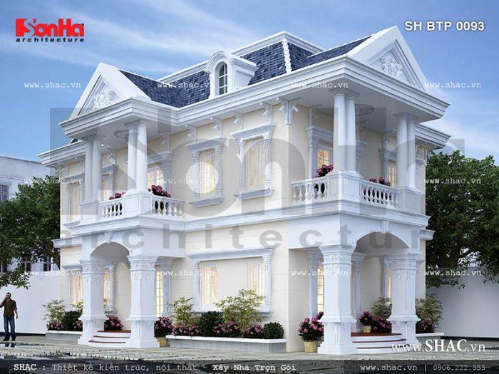 Thiết kế kiến trúc mặt tiền của mẫu biệt thự mini cổ điển 2 tầng đẹp tại Sài Gòn đơn giản mà trang nhã
