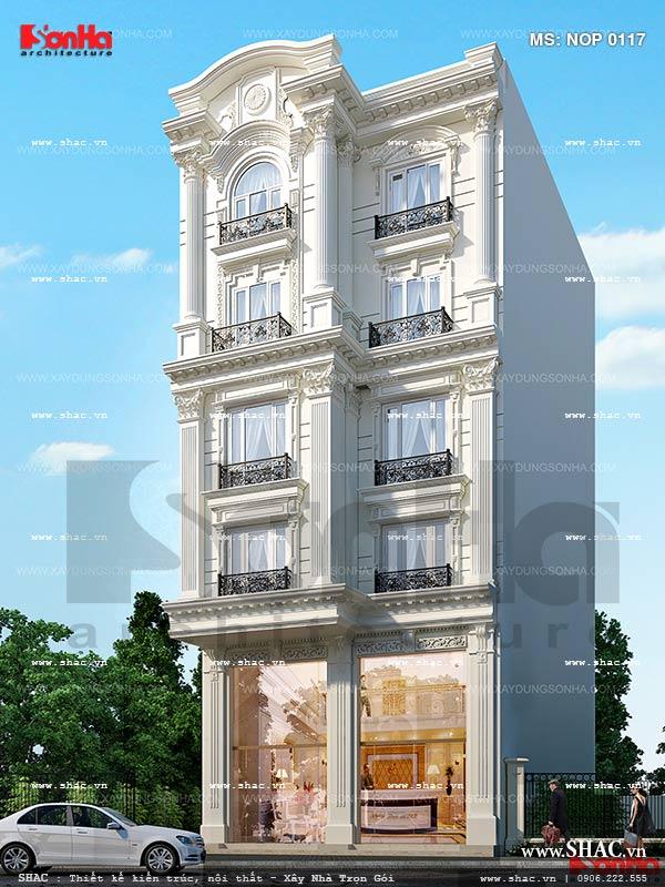 Thiết kế kiến trúc nhà phố 5 tầng kiểu Pháp sang trọng tại Sài Gòn sh nop 0117