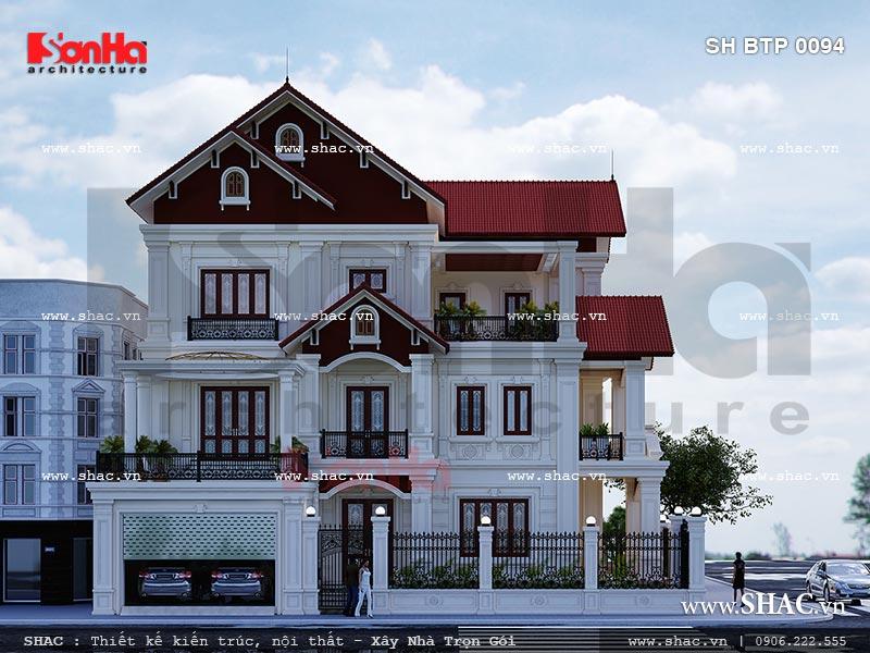 Thiết kế biệt thự kiến trúc cổ điển Pháp sang trọng tại Ninh Bình sh btp 0094