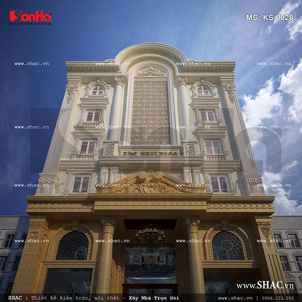 THiết kế khách sạn kiến trúc cổ điển Pháp sang trọng tại Lào Cai sh ks 0028