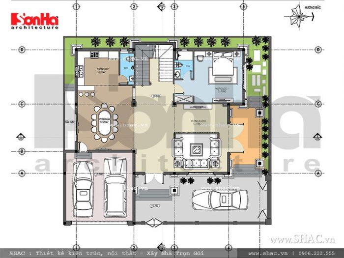 Phương án thiết kế mặt bằng công năng tầng 1 của mẫu biệt thự cổ điển đẹp tại Ninh Bình