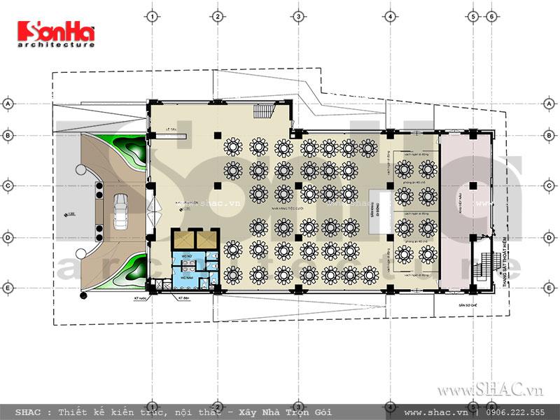 mặt bằng tầng 1 khách sạn, bản vẽ mặt bằng tầng 1 tổ hợp khách sạn