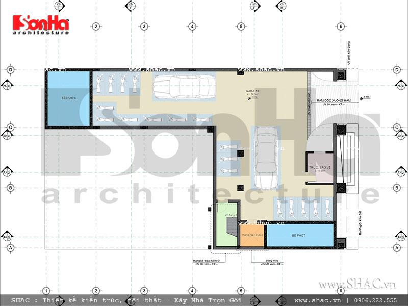 Thiết kế mặt bằng công năng tầng hầm khách sạn cổ điển Pháp 7 tầng sh ks 0028
