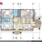 Mặt bằng tầng 1 biệt thự Pháp đẹp đẳng cấp sh btp 0093