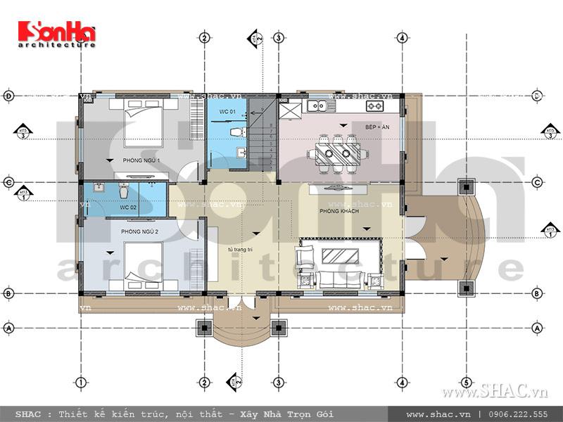 Mẫu thiết kế biệt thự Pháp 2 tầng mặt tiền rộng tại Sài Gòn – SH BTP 0093 11