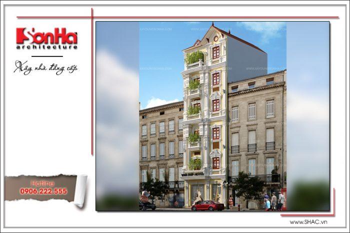 Mẫu thiết kế khách sạn Pháp 6 tầng nổi bật với ngoại thất đậm chất cổ điển truyền thống