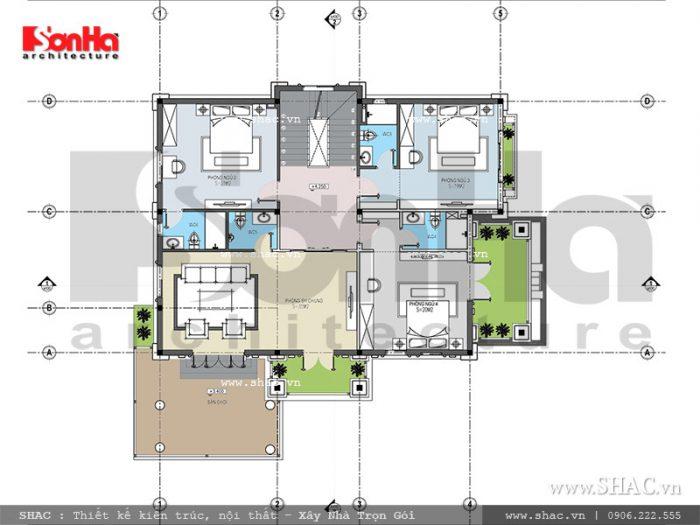 Còn đây là phương án thiết kế mặt bằng tầng 2 của mẫu biệt thự Pháp đẹp tại Ninh Bình