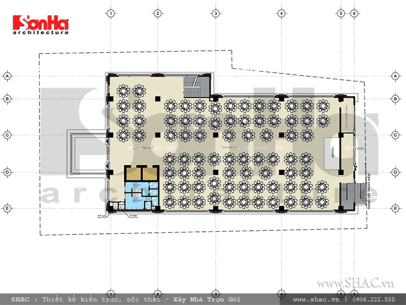 Mặt bằng tầng 2 khách sạn nhà hàng trung tâm tổ chức sự kiện sh ks 0029