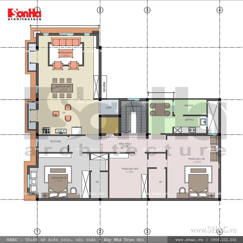 Mặt bằng tầng 4 nhà ở kết hợp kinh doanh sh nop 0116
