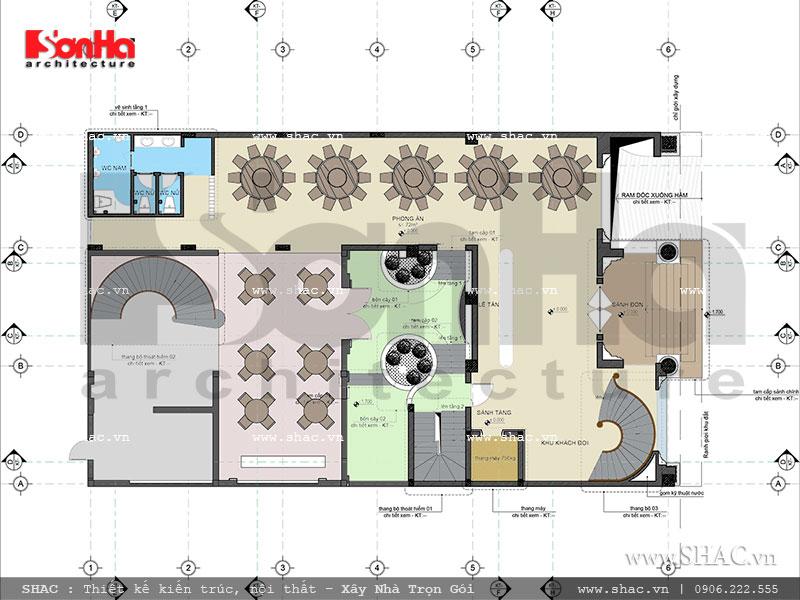 Thiết kế mặt bằng công năng tầng 1 khách sạn cổ điển Pháp 7 tầng sh ks 0028
