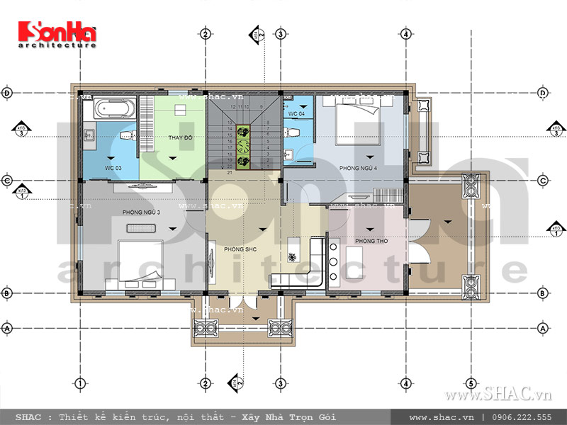 Mặt bằng tầng 2 biệt thự Pháp đẹp đẳng cấp sh btp 0093