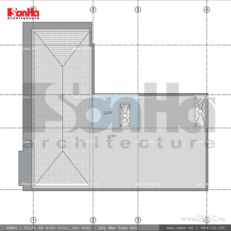 Mặt bằng tầng mái nhà ở kết hợp kinh doanh sh nop 0116