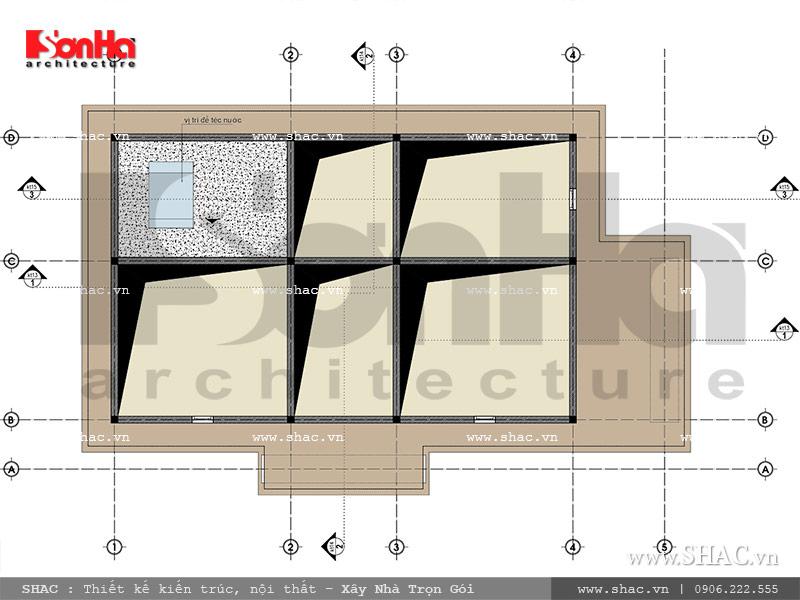 Mặt bằng tầng áp mái biệt thự Pháp đẹp đẳng cấp sh btp 0093
