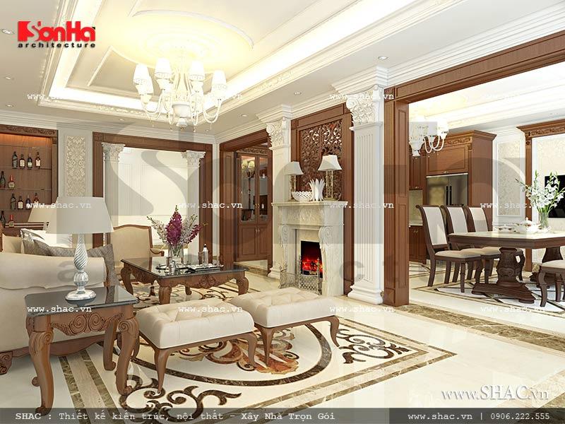 Mẫu thiết kế nội thất liên thông phòng khách và phòng bếp nhà phố kiến trúc Pháp sh nop 0117