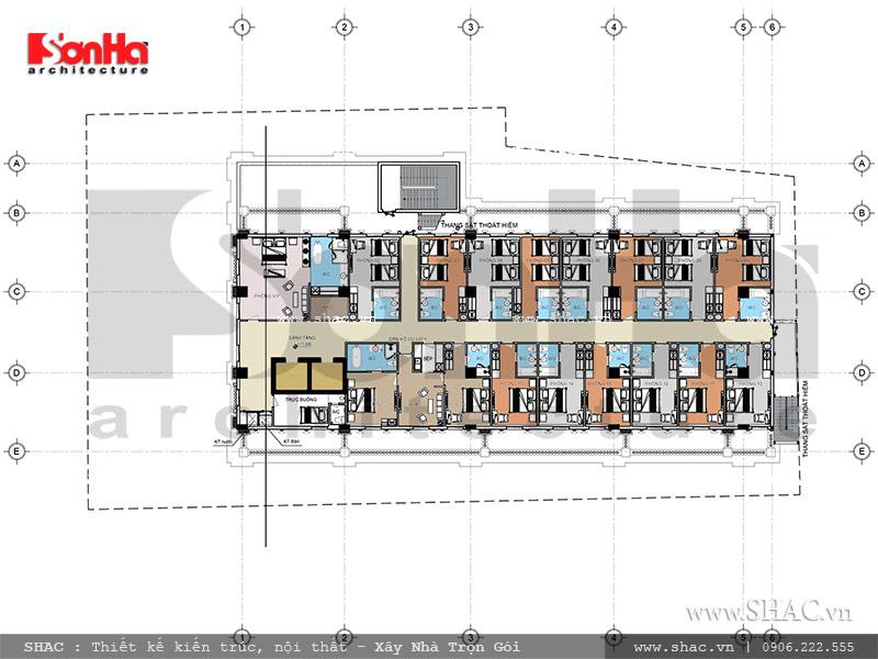 bản vẽ mặt bằng tầng 5; mặt bằng tầng 5 của khách sạn kiến trúc pháp