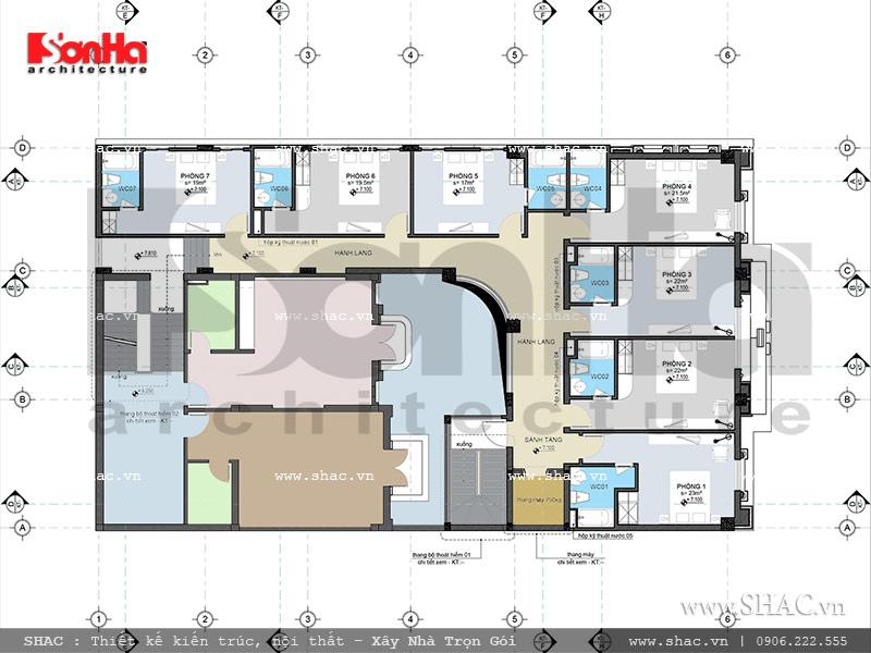 Thiết kế mặt bằng công năng tầng 3 khách sạn cổ điển Pháp 7 tầng sh ks 0028
