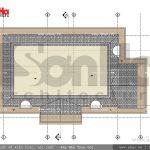 Mặt bằng tầng mái biệt thự Pháp đẹp đẳng cấp sh btp 0093
