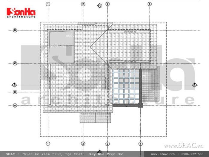 Thiết kế mặt bằng tầng mái của mẫu biệt thự cổ điển tại Ninh Bình