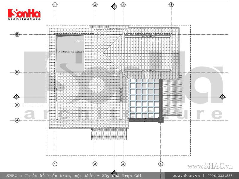 Mặt bằng thiết kế tầng mái biệt thự Pháp tại Ninh Bình