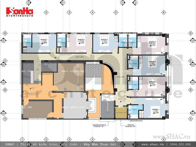 Thiết kế mặt bằng công năng tầng 4 khách sạn cổ điển Pháp 7 tầng sh ks 0028