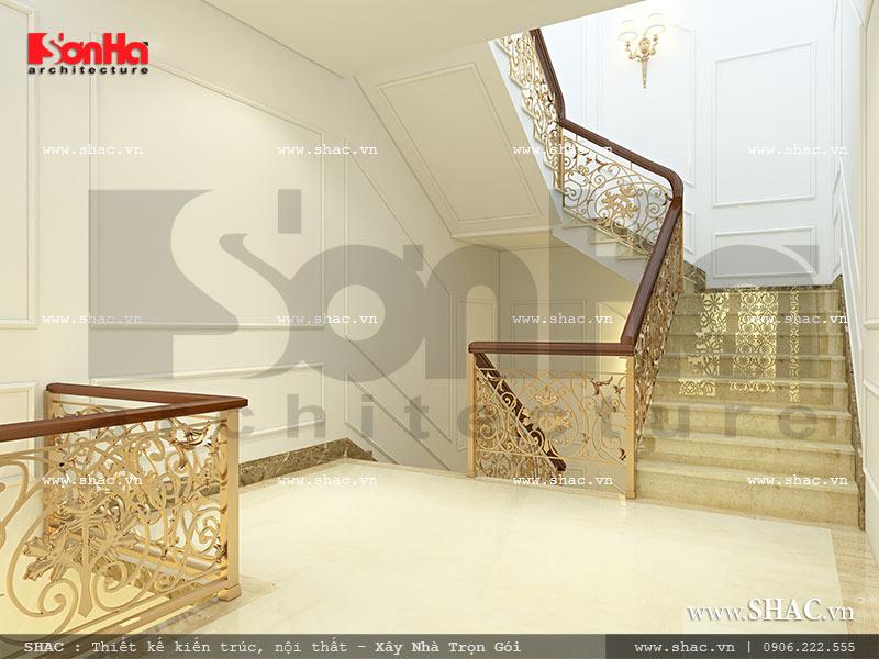 Mẫu thiết kế nội thất sảnh thang nhà phố kiến trúc Pháp sh nop 0117