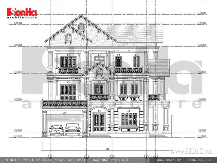 Bản vẽ mặt đứng tổng thể 2 của mẫu thiết kế biệt thự cổ điển Pháp 3 tầng đẹp tại Ninh Bình