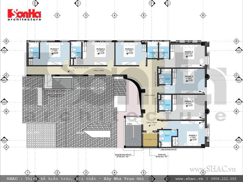 Thiết kế mặt bằng công năng tầng 5 khách sạn cổ điển Pháp 7 tầng sh ks 0028
