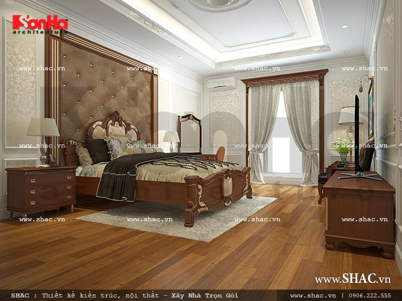 Thiết kế nội thất phòng ngủ 1 view 1 nhà phố kiến trúc Pháp sh nop 0117