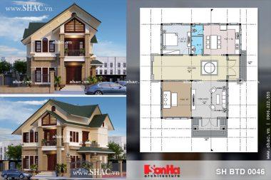 Phối cảnh thiết kế biệt thự hiện đại 2 tầng tại Hưng Yên sh btd 0046